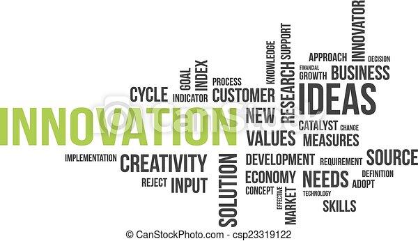 Nube de palabras, innovación - csp23319122