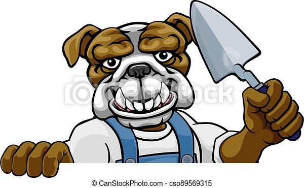 paleta, albañil, constructor, herramienta, bulldog, tenencia - csp89569315