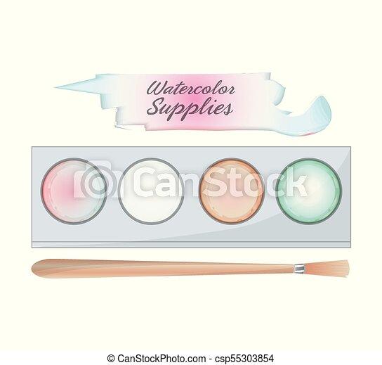 Paleta de colores y diseño de pinceles - csp55303854