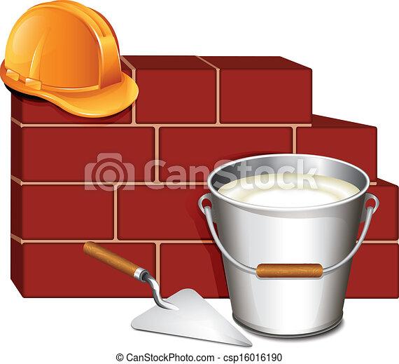 El icono de la pared de madera y ladrillos - csp16016190