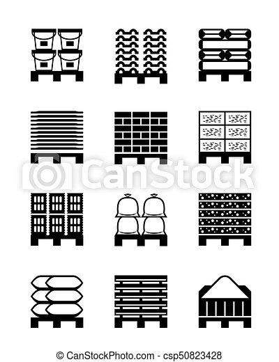 Pallets con diferentes materiales de construcción - csp50823428