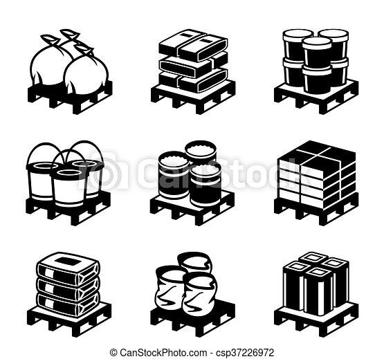 Pallets con materiales de construcción - csp37226972