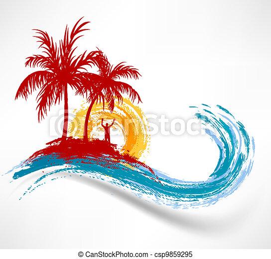 Palmas y olas oceánicas. Hombre contra el atardecer - csp9859295