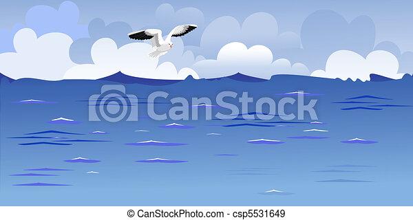 Panorama del océano con una gaviota - csp5531649