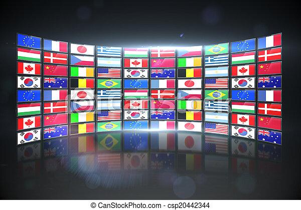 Un collage de pantalla que muestra banderas internacionales - csp20442344