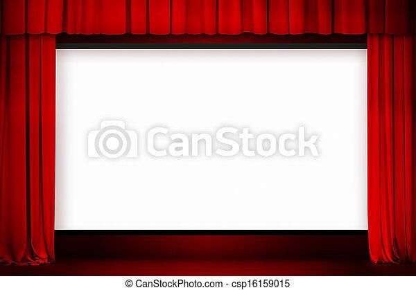 Pantalla de cine con cortina roja abierta - csp16159015
