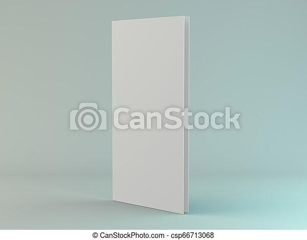 Papel de retrato en blanco. Brochure, revista, postal aislada. 3D - csp66713068
