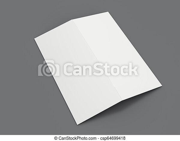 Papel de retrato en blanco. Brochure, revista, postal aislada. 3D - csp64699418