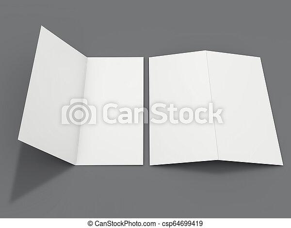 Papel de retrato en blanco. Brochure, revista, postal aislada. 3D - csp64699419