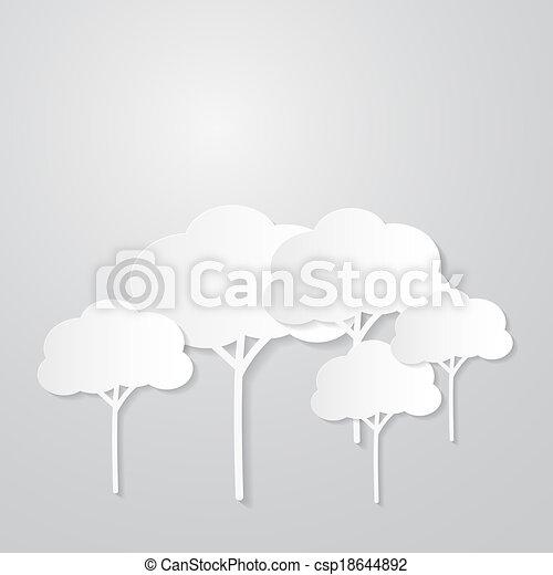 Árboles blancos cortados de papel sobre fondo gris - csp18644892