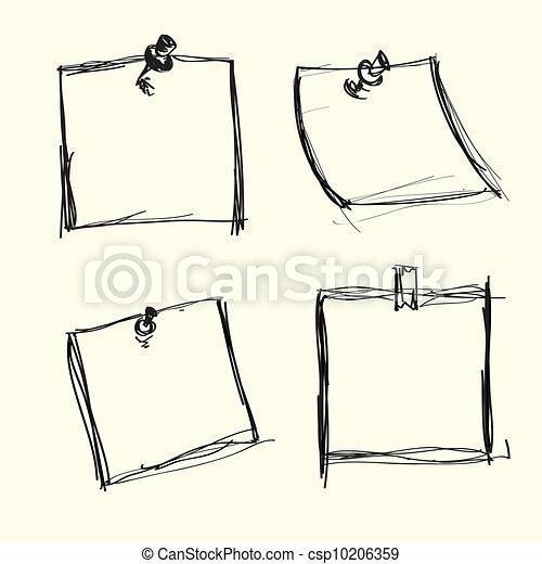 Papeles de notas a mano con alfileres - csp10206359