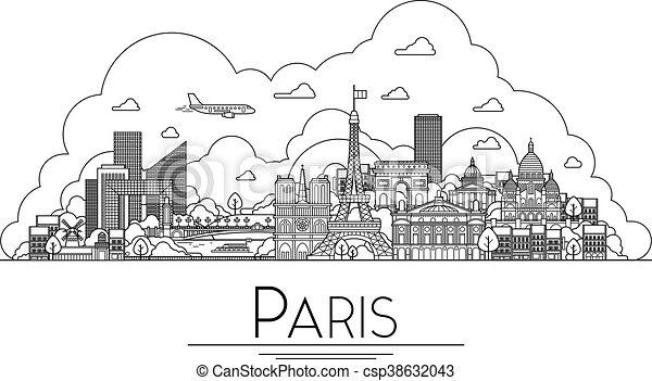 París, Francia, monumentos y icono de arquitectura. Los destinos turísticos más populares, calles de la ciudad, catedrales, edificios, símbolos en una ilustración - csp38632043
