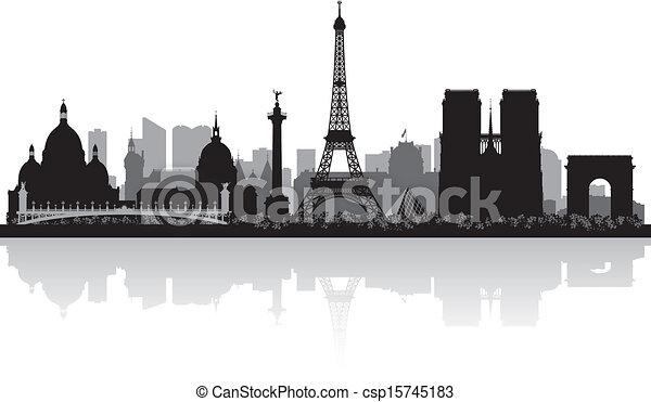 Paris france City skyline silueta - csp15745183