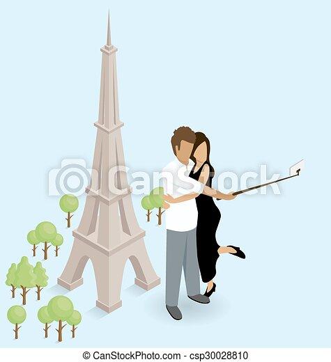 Una pareja haciendo selfie cerca de la torre Eiffel en París - csp30028810
