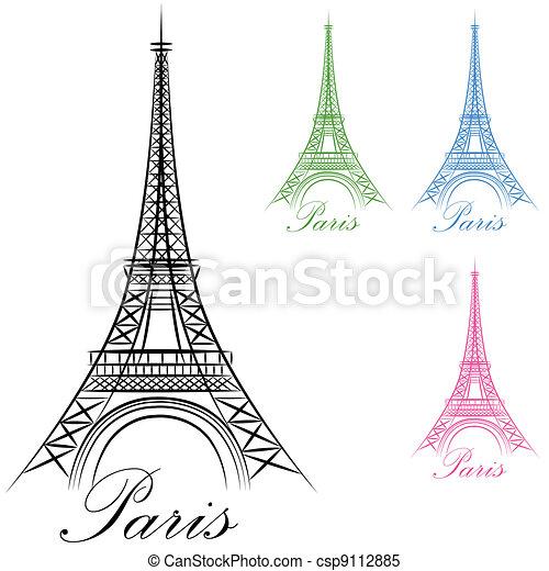 El icono de la torre de París - csp9112885