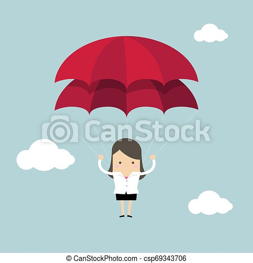Mujer de negocios con paracaídas en el cielo. - csp69343706