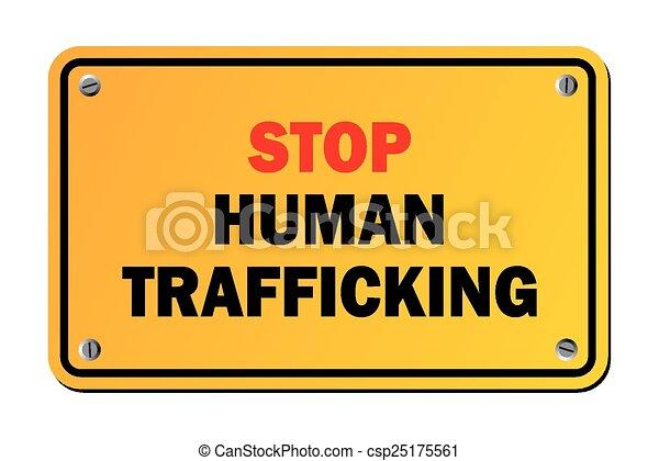 Detener el tráfico humano - advertencia si - csp25175561