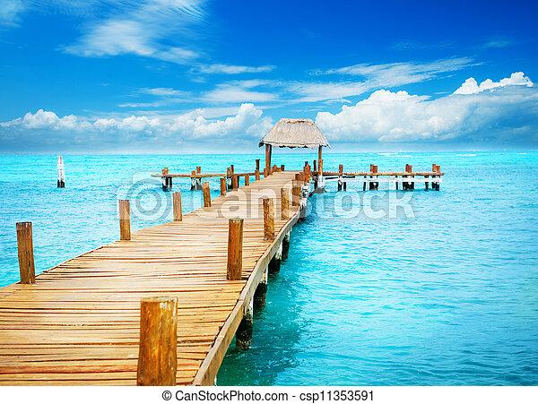 Vacaciones en el paraíso tropical. Jetty sobre las mujeres del Islam, México - csp11353591