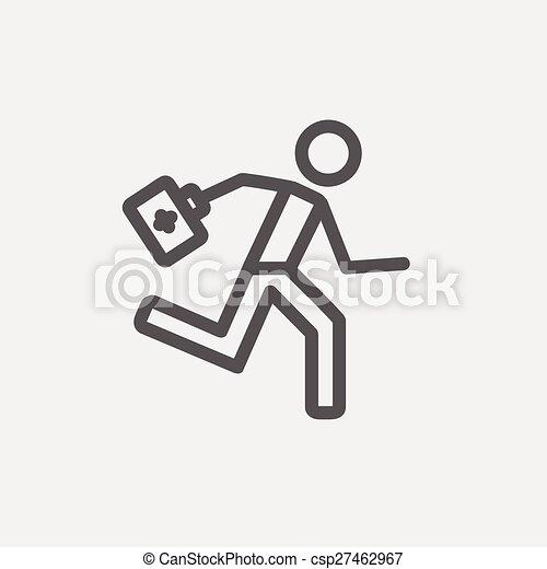 Paramédico corriendo con botiquín de primeros auxilios icono de línea delgada - csp27462967