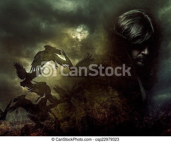 Paranormal, hombre de pelo largo y abrigo negro - csp22979323