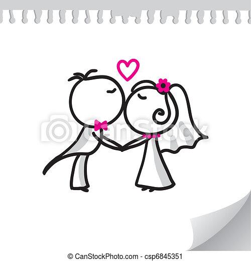 Una pareja de bodas - csp6845351