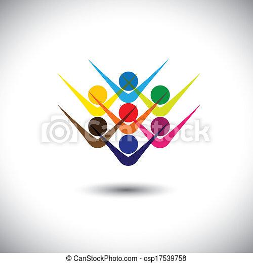 Vector abstracto colorido vector feliz gente excitada o niños. Esta ilustración gráfica también puede representar a empleados felices, empleados, niños jugando, amigos eufóricos, gente de fiesta, etc - csp17539758