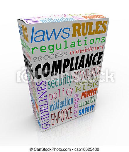 Cumplimiento y palabras relacionadas como seguridad, regulaciones, leyes y reglas para ilustrar que un producto o mercancía pasa todos los requisitos legales y es seguro de comprar, comprar o consumir - csp18625480