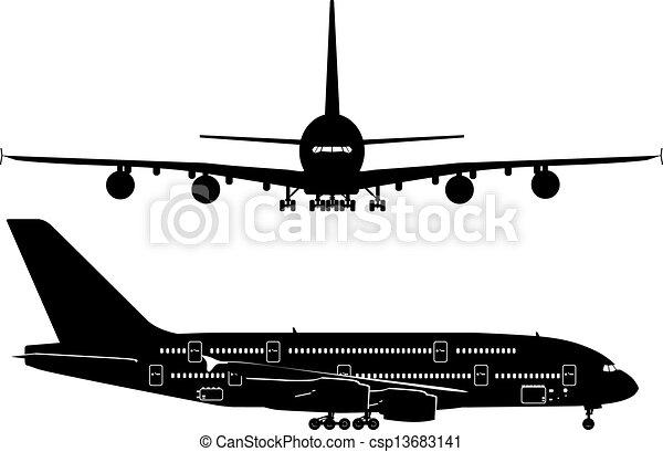 Siluetas de avión de pasajeros - csp13683141