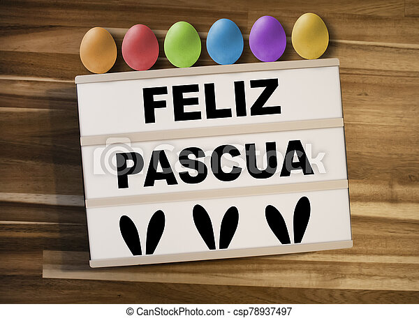pascua, lightbox, -, huevos, pascua, feliz, plano de fondo, caja de madera, o, feliz, luz, español, palabras - csp78937497