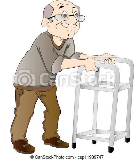 Viejo usando un andador, ilustración - csp11939747