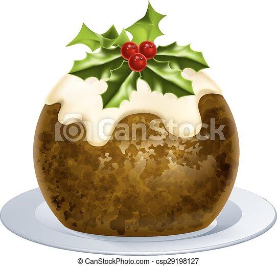 Pastel de pudín de Navidad - csp29198127