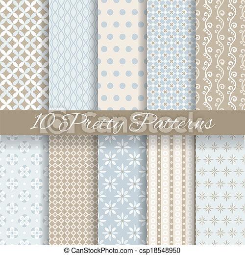Bastante vector pastel patrones sin costura (tiling, con swatch) - csp18548950