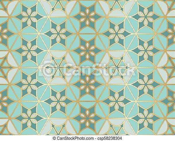 Patrón árabe sin costura. Ventana islámica tradicional con mosaico dorado - csp58238304