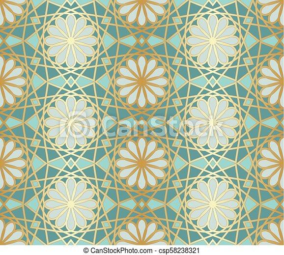 Patrón árabe sin costura. Ventana islámica tradicional con mosaico dorado - csp58238321