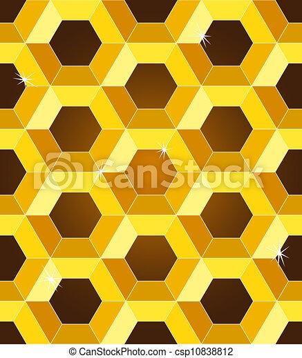 Patrón amarillo de panales amarillos sin nada - csp10838812