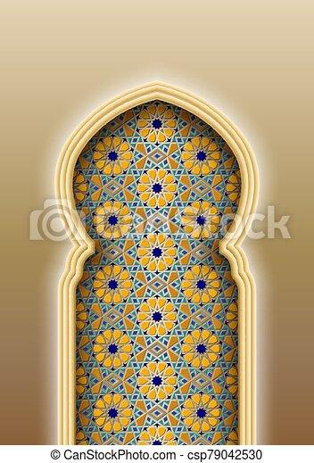 patrón, arco, islámico, árabe, tradicional - csp79042530