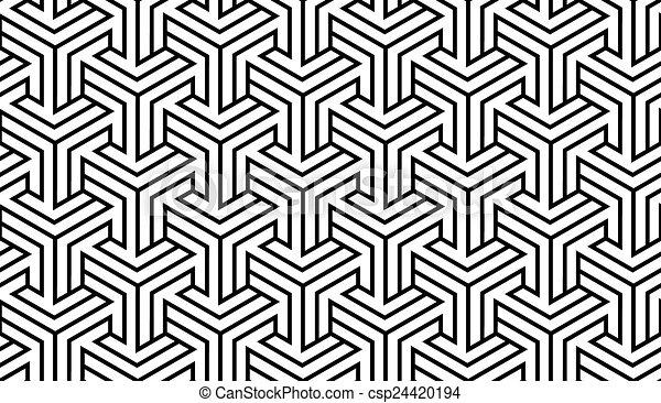 Patrón geométrico blanco y negro - csp24420194