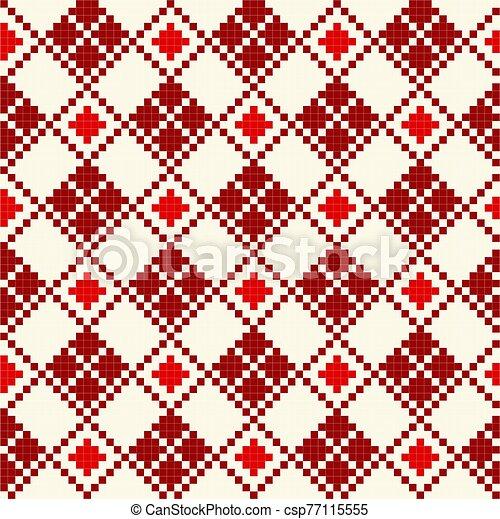 patrón, cruz, seamless, stich, rojo - csp77115555