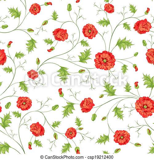Patrón de flores de amapola - csp19212400