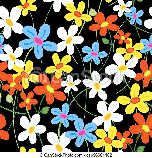 Patrón de flores sin costura sobre negro - csp36601402