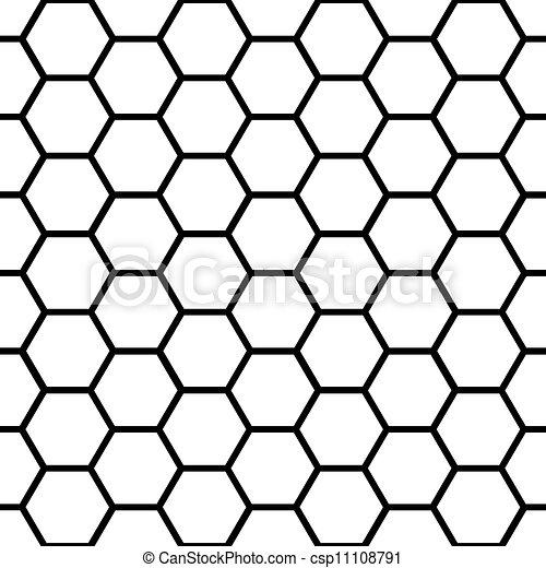 Patrón de panal negro sin semen sobre blanco - csp11108791