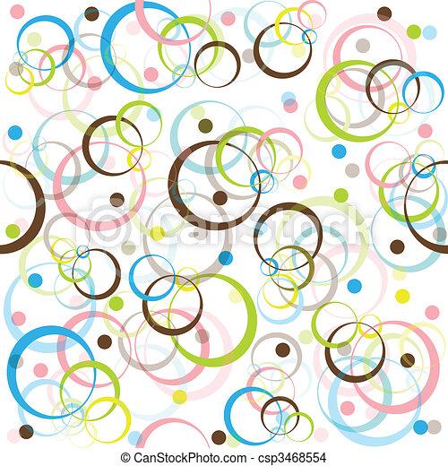 Patrón de retro con círculos y puntos de colores - csp3468554