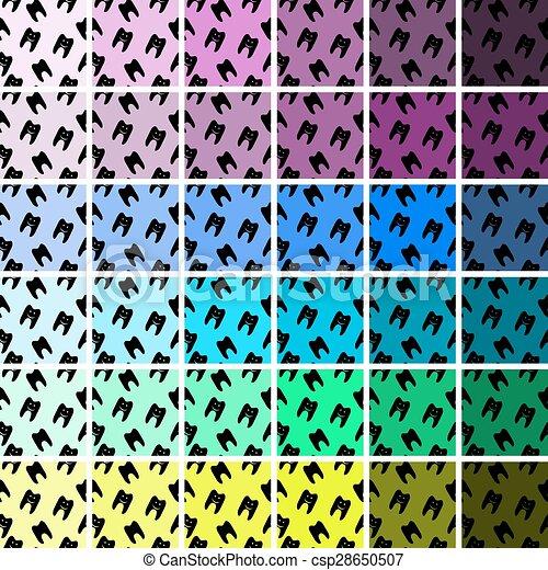 Patrón de símbolos de dientes sanos. Establece patrones sin costura y texturas. - csp28650507
