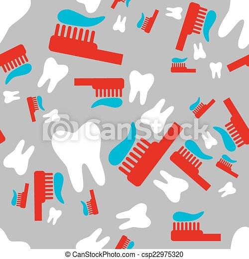 Dientes y cepillo de dientes sin costura - csp22975320