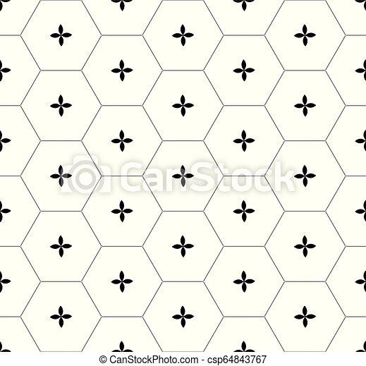 Patrón gráfico de panal negro sobre blanco - csp64843767
