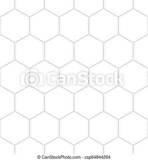 Patrón gráfico de panal negro sobre blanco - csp64844264