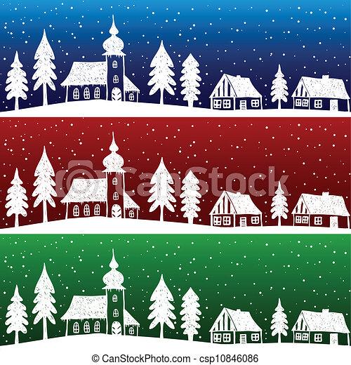La aldea navideña con un patrón inmaculado - csp10846086
