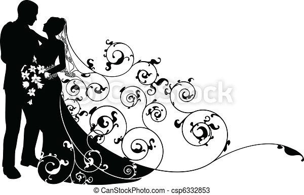 La novia y el novio tienen un patrón de silueta - csp6332853