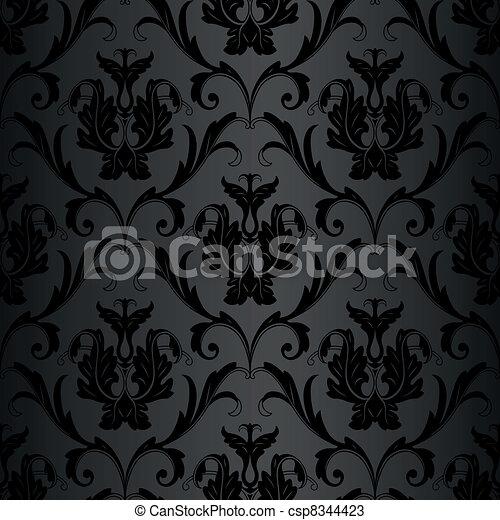 Patrón de papel de pared negro - csp8344423