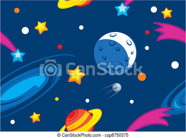 Patrón con planetas y estrellas - csp8750375